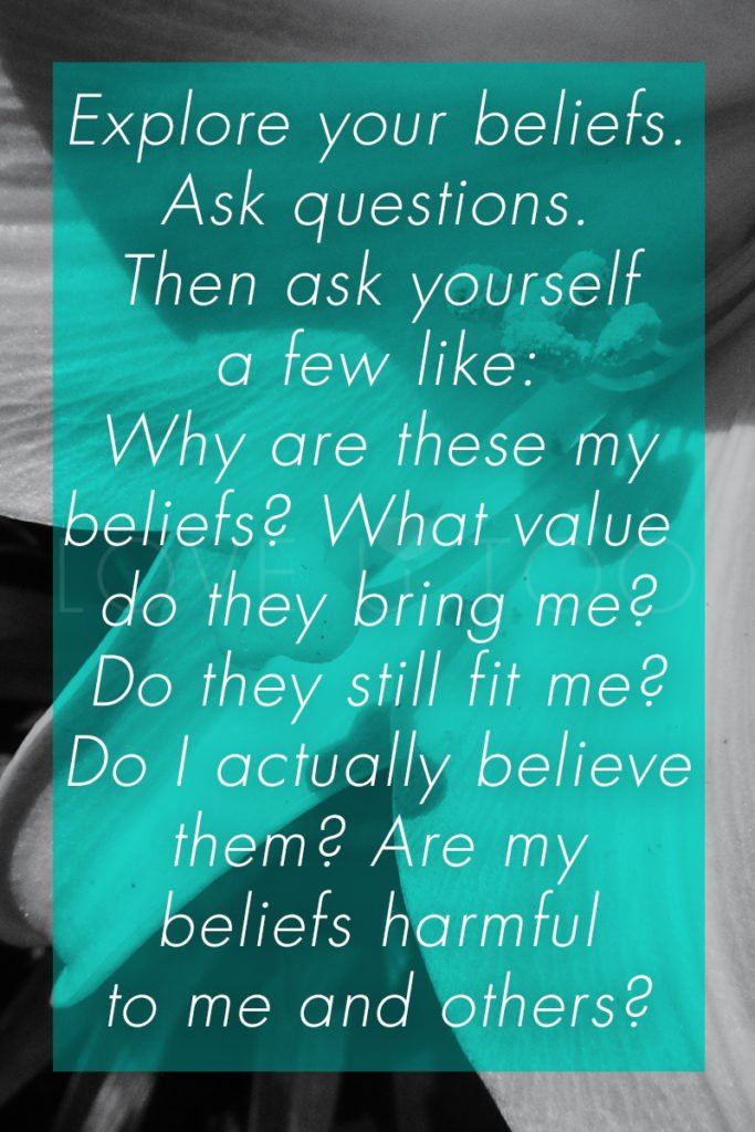 Operation Love U | Explore your beliefs. Ask questions. Then as yourself a few like: Why are these my beliefs? What value do they bring me? Do they still fit me? Do I actually believe them? Are my beliefs harmful to me and others?